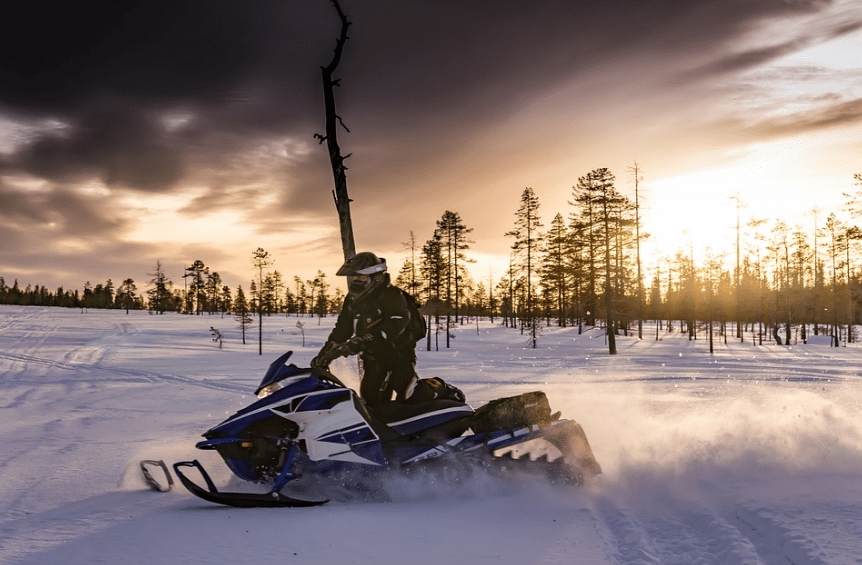 Snowmobiles are fast